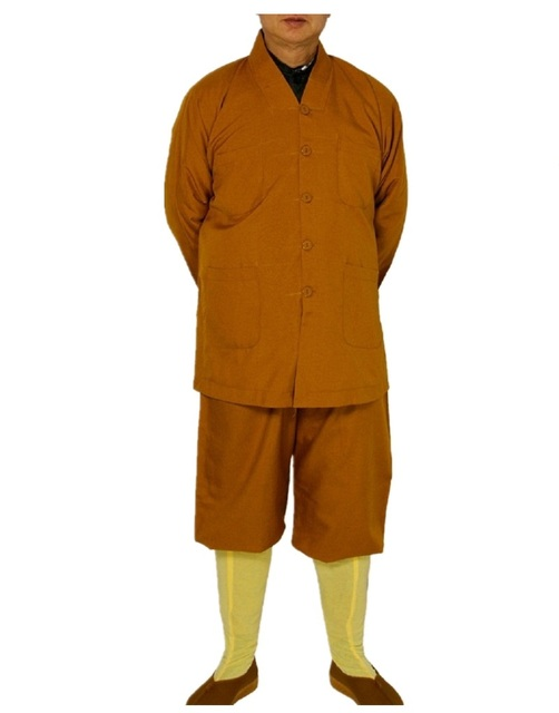 Shagnhai Story Men's Chinese Casual Short Gowns Suits Shaolin Temple Zen Buddhist Monk Robe Outfit Kung Fu Training Uniform Suit