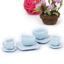 16 pcs Miniature Dollhouse Square Dinnerware Porcelain Tea Set Tableware Mug