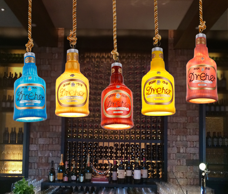 Creative Bar Bar Chandeliers Shop Restaurant Lounge Personalized Single Retro Wine Bottle Single Head Decorative Lamps