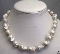 bjc 00054 Rare fine Large 15 23mm White Unusual Baroque Pearl Necklace disc Clasp