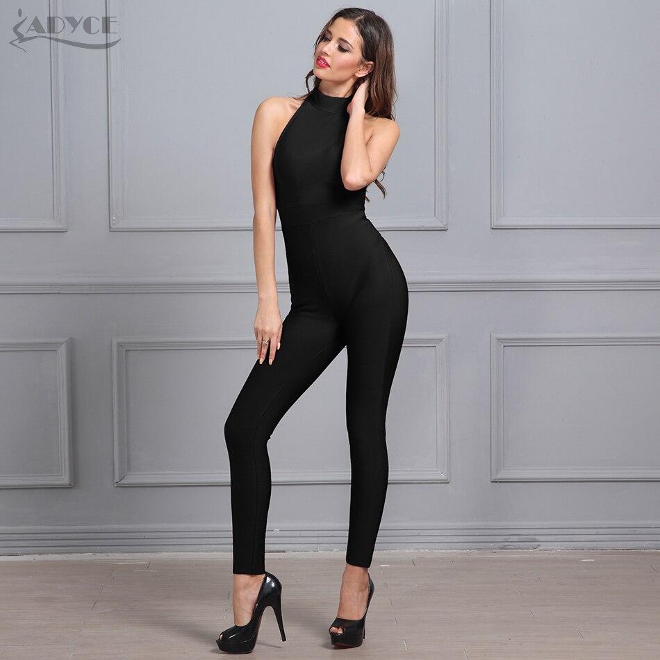 Adyce 2018 New Summer Women Rompers Bodysuit Black Sleeveless Back Zipper  Full Length Celebrity Party Bandage Jumpsuit Wholesale 305dc06f33c8