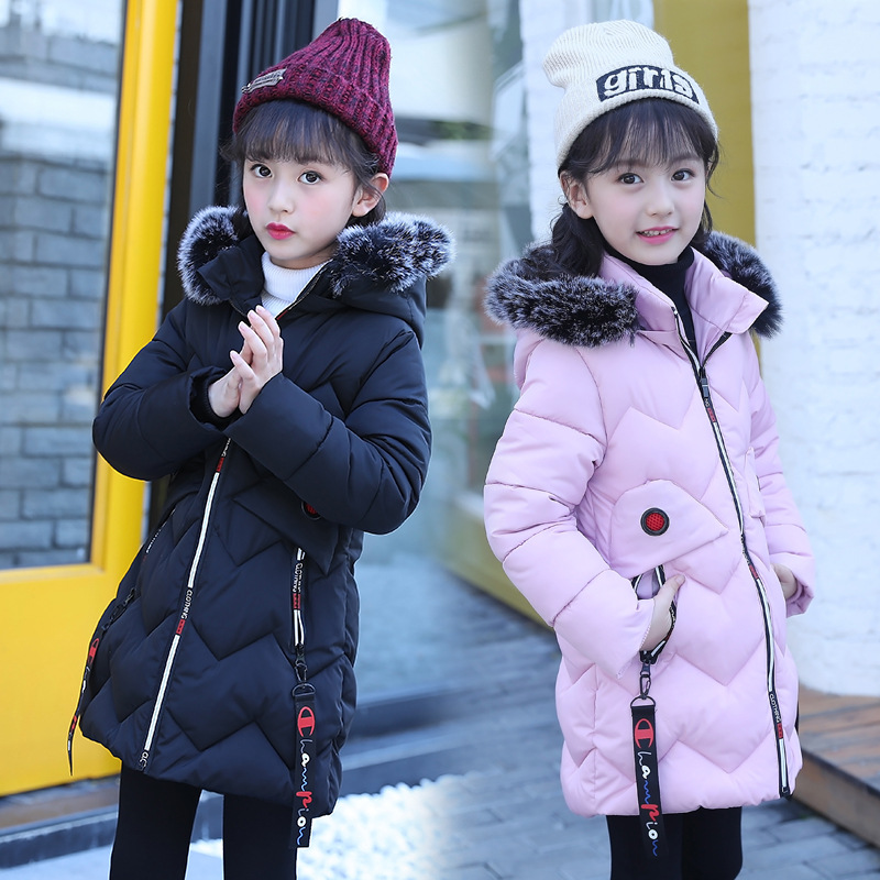 Girls Winter Coat 2017 Children Padded Cotton Jacket Girl Long Section Warm Jacket Kid Thick Wadded Outwear Hooded Girl Parkas russia 2016 children outerwear baby girl winter wadded jacket girl warm thickening parkas kids fashion cotton padded coat jacket