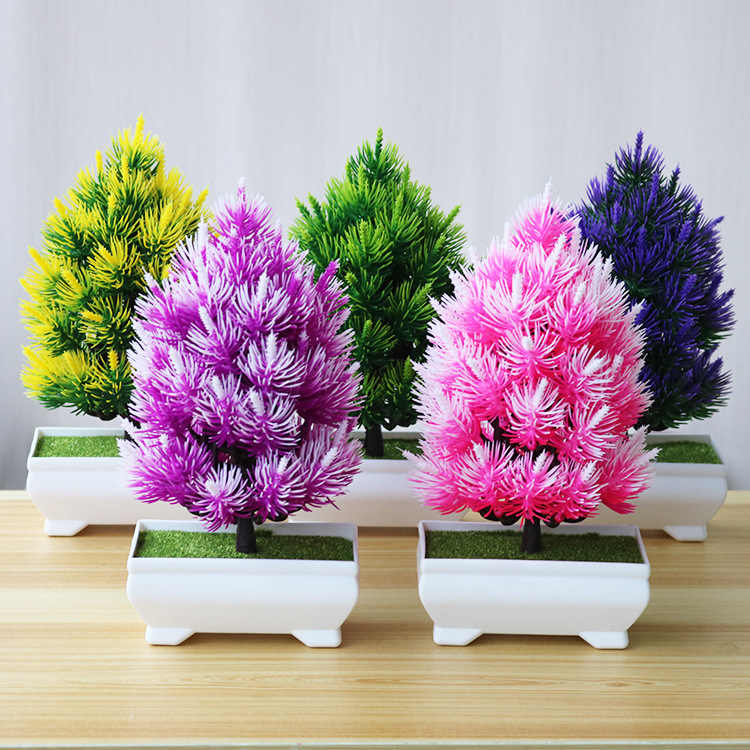 Artificial Flowers Fake Green Pot Pine Bonsai Simulation Artificial Potted Plant Ornament Home Decor Coloful Wedding Decoration