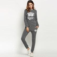 Women Crown Pattern Print Long Sleeve O Neck Sweatshirt And Pants Tracksuit New