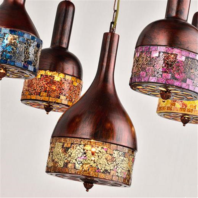 Bohemia Style Romantic Individuality Pendant Light Color Glass Tiffany Light For Cafe / Restaurant / Studio Free Shipping