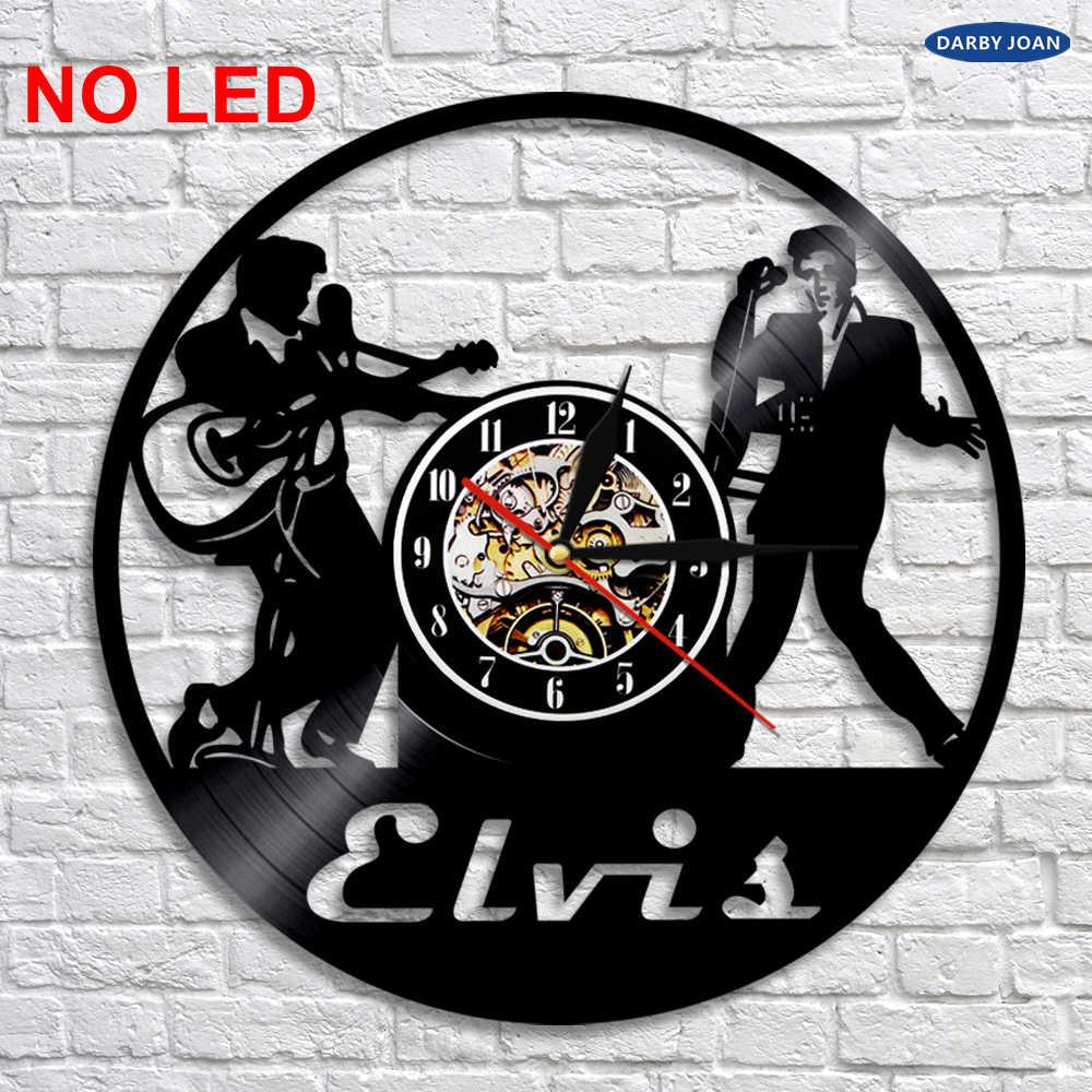 Elvis Silhouette LED Light Wall Vinyl Màu Đồng Hồ Thay Đổi Mát Phòng Khách Nội Thất Trang Trí Nội Thất Tường Ánh Sáng Điều Khiển Từ Xa
