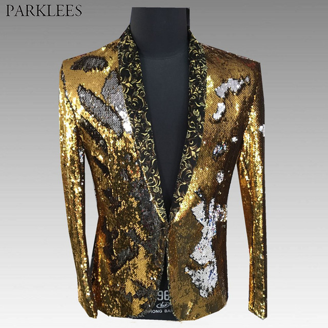 Mens Shiny Gold Sequin One Button Blazer Jacket 2018 Club Bar Dance Prom  Suit Blazer Men DJ Party Stage Singer Costume Blazers 34543535c2f8