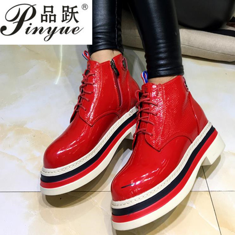 35-39 Women Boots Genuine Leather Flat Martin Ankle Boots Womens Motorcycle Boots Autumn Shoes Women Winter Patent leather Botas women martin boots 2017 autumn winter punk style shoes female genuine leather rivet retro black buckle motorcycle ankle booties