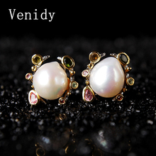 Venidy Pearl Jewelry, Natural Baroque Pearl Earrings Freshwater Pearls Sterling Silver Jewelry Bohemian Charms Stud Earrings New