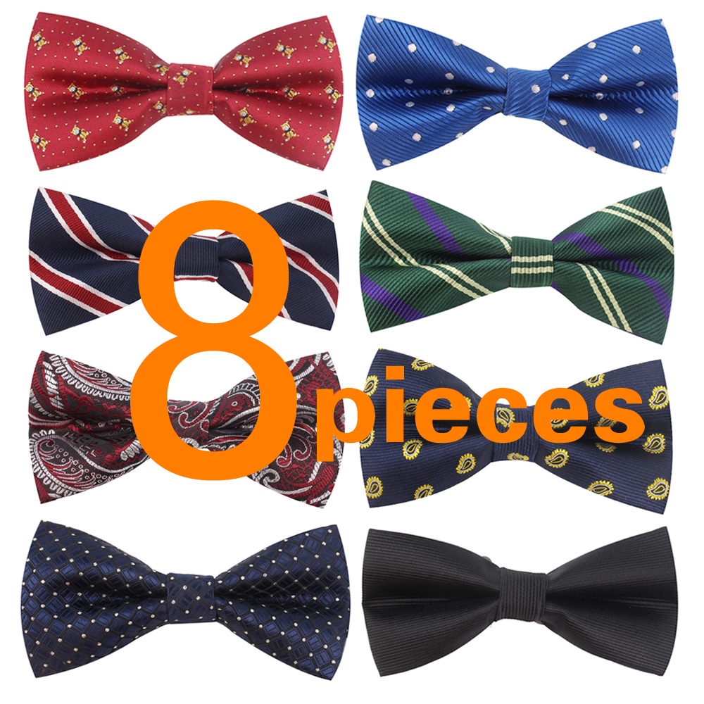 8 PACKS Elegant Adjustable Pre-tied Bow Ties For Men Boys In Different Colors Jacquard Mens Bowties