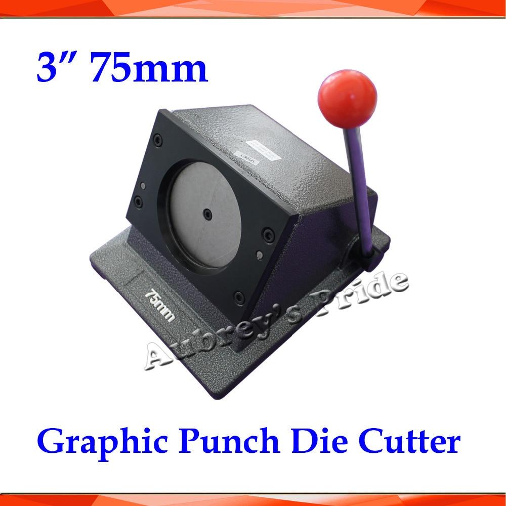 """새로운 헤비 듀티 매뉴얼 3 """"75mm 멀티 시트 스탠드 용지 그래픽 펀치 다이 커터 프로 버튼 메이커-에서원형 커터부터 홈 & 가든 의  그룹 1"""