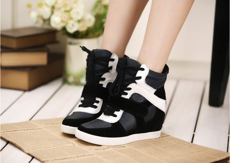 High-top Wedges Sneakers,Leather Patchwork-color Red-white Suede,Height Increasing 6cm,Size EU 35~39,Women's Shoes