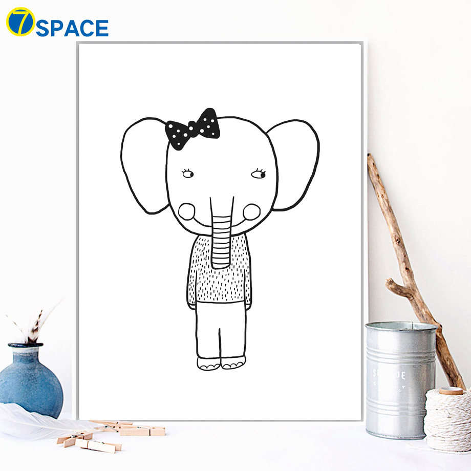 US $3 26 45% OFF|Rabbit Elephant Fox Dream Big Wall Art Canvas Painting  Nordic Posters And Prints Black White Wall Pictures For Kids Room Decor-in