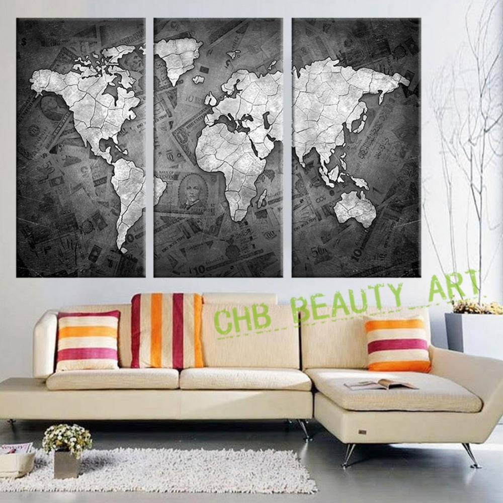 3 panels black and white world map printed canvas printed wall art 3 panels black and white world map printed canvas printed wall art wall pictures for living room decorative pictures unframed in painting calligraphy from gumiabroncs Choice Image