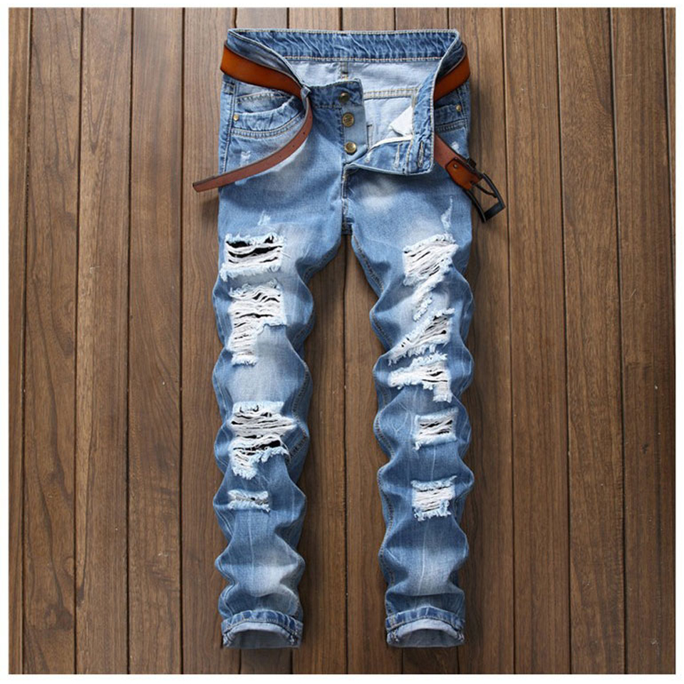 Blue Ripped Jeans for Men Fashion Hole Designer Slim Straight Hip Hop Mens Jeans Distressed Male Jogger Pants Casual Trousers mens fashion designer skinny distressed slim jeans biker hip hop hole blue black elestic denim jeans ripped jeans for men