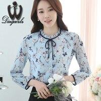 Dingaozlz 2017 new elegant female bow stitching chiffon blouse shirt fashion women clothing long sleeve printed casual tops
