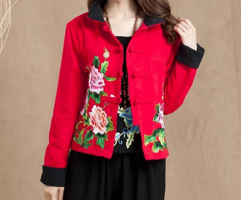 Nouvelle À Chinois rose Xl Style Longues Red Broderie Noir D'hiver Matelassé Manteau Chaude Mode 2018 Femmes red 4xl Court Manches Costume vert gPqBgX