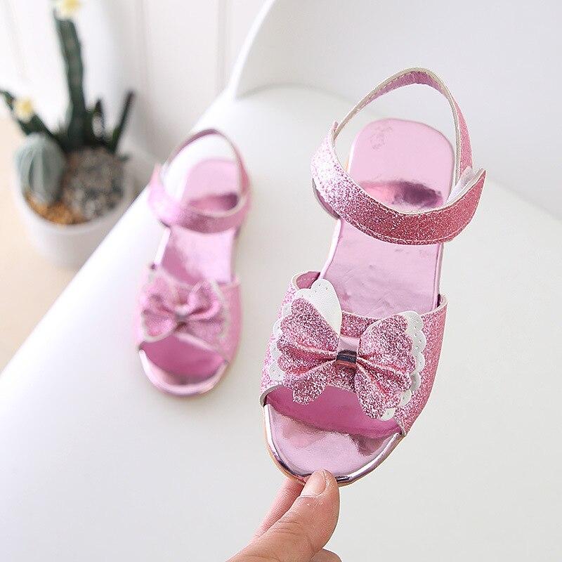 3089e1636 Aliexpress.com : Buy Girl Open Toe Sandals 2018 New Children Sandals Summer  Kids Sandlas Cute Buttery Tie Design Princess Shoes Girls Bowtie Shoes from  ...