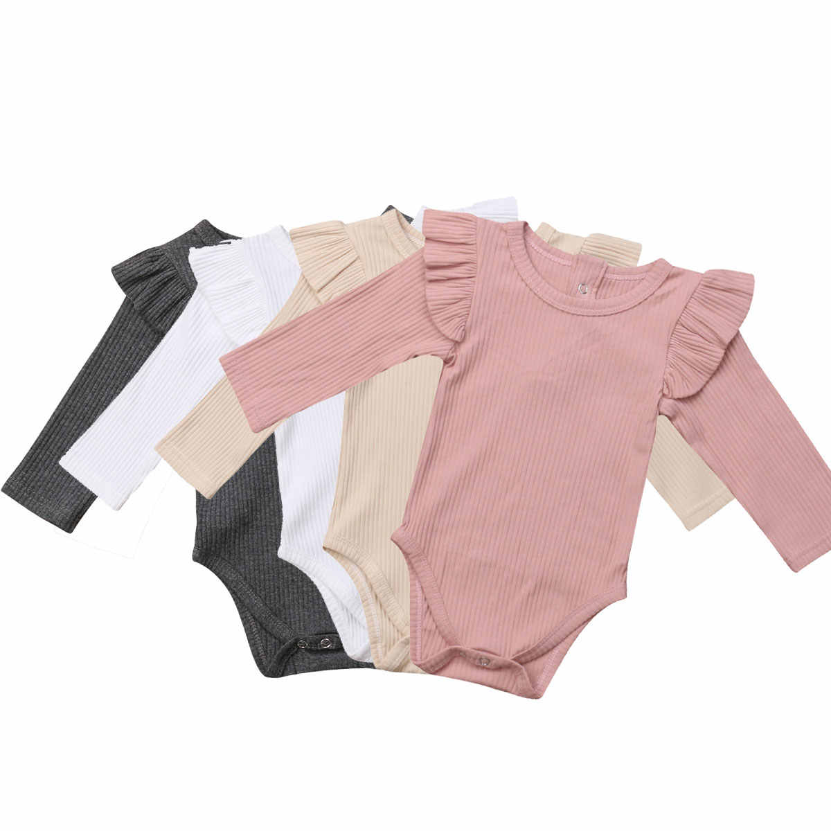 Pasgeboren Baby Meisjes Ruches Romper Lange Mouwen Peuter Meisjes Jumpsuit Playsuit Herfst Lente Baby Meisje Kostuums