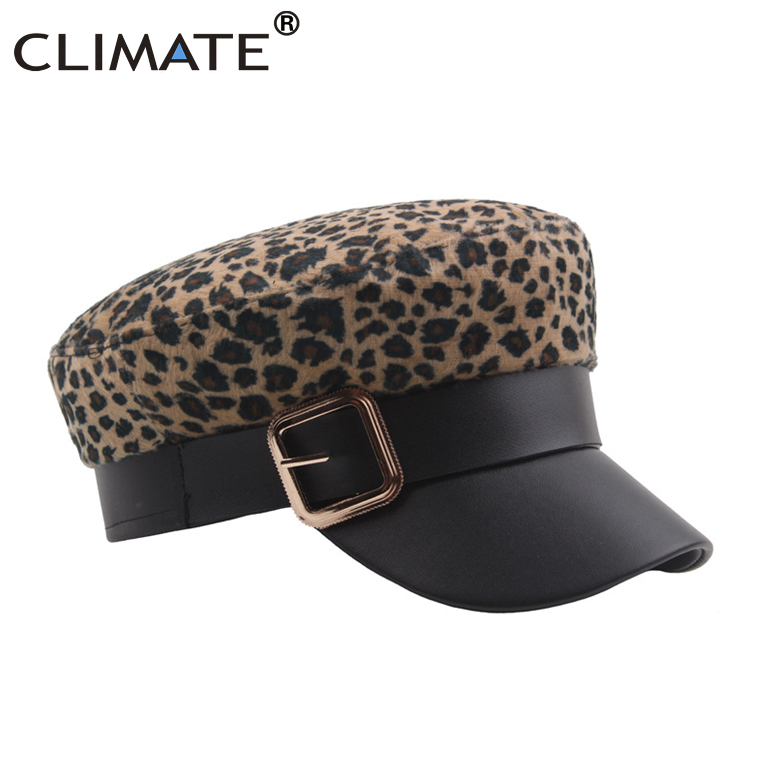 CLIMATE Women Leopard <font><b>Cap</b></font> New Fashion PU Military <font><b>Caps</b></font> <font><b>Sexy</b></font> Sailor Navy Army <font><b>Cap</b></font> Hat Cool Buckle Marine Hat <font><b>Caps</b></font> for Woman image