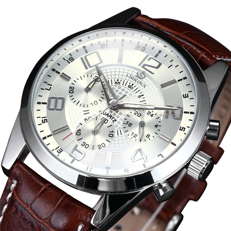 MG. ORKINA Mens Watches Leather Strap Quartz Analog Male Clock Miyota JS20 Movt Chronograph Relogio Masculino Men Sport Watch купить недорого в Москве