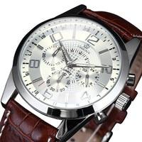 ORKINA P0006 Brand White Dial Brown Leather Strap Miyota JS20 Quartz Movement Six Hand Men Watch