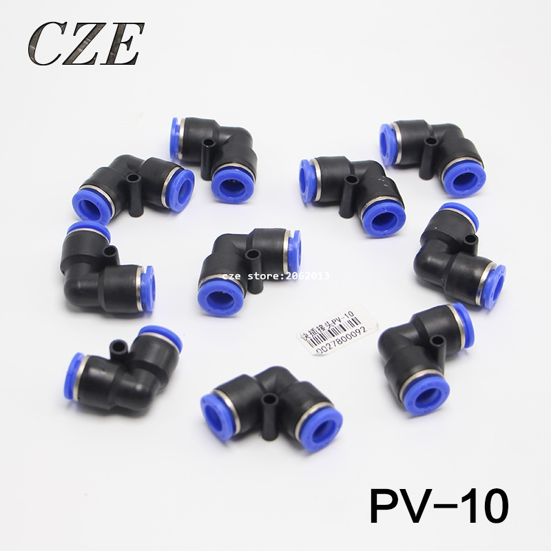 10pcs/lot PV-10 10MM Pneumatic Tube Air Fitting Elbow L Connector Pipe Hose  One Touch Quick Joint Coupler Plastic Union PV3/8 free shipping 10pcs lots brass quick connectors for 6mm hose bulkhead pipe fitting pneumatic fitting