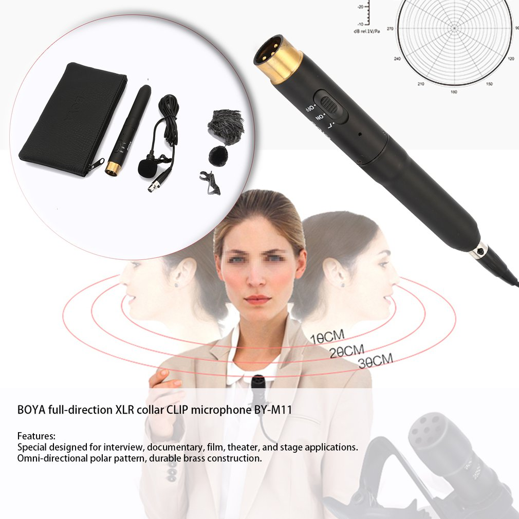 BOYA BY-M11 Professional Omni-Directional XLR Lavalier Microphone System For Interview Documentary Film Theater Stage