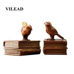 VILEAD 14 см Смола Птица книжный блок фигурки европейские ретро ювелирные изделия книжный шкаф креативный подарок ремесла украшения для дома
