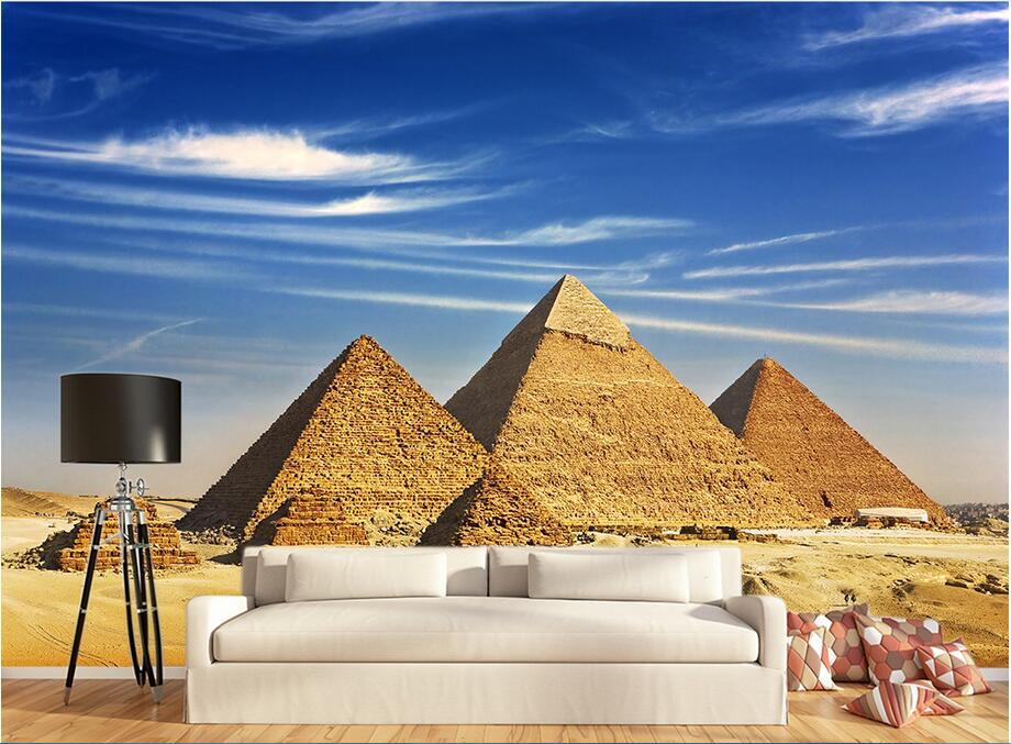 Custom photo 3d wallpaper Non-woven mural The pyramids of Egypt decoration painting 3d wall murals wallpaper for living room custom photo 3d wallpaper mural non woven the wolf in the night background wall painting living room wallpaper for walls 3d