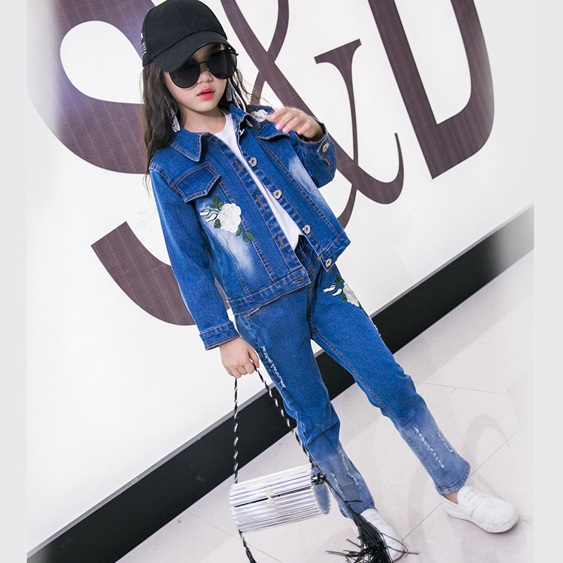 Girls Cowboy Suit Jeans for Girl Classic Floral Costume Denim Jacket Teenage Girls Clothes Winter Children Kids Clothing 2018 autumn winter denim kids clothes embroidery floral jacket jeans 2pcs girls spring teenage girls clothing 6 8 10 12 years