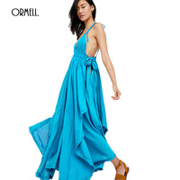 ORMELL Summer Sexy Backless Women Maxi Dress Boho High Waist Irregular Split Cotton V Neck Elegant