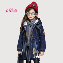цена на New Winter Girls Denim Jacket Children Clothing Plus Thick Velvet Hooded Outwear Long Warm Girls Clothes Coats 5 7 9 11 13 Years