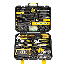 DEKO Hand Tool Set General Household Repair Hand Tool Kit with Plastic Toolbox Storage Case Socket Wrench Screwdriver Knife