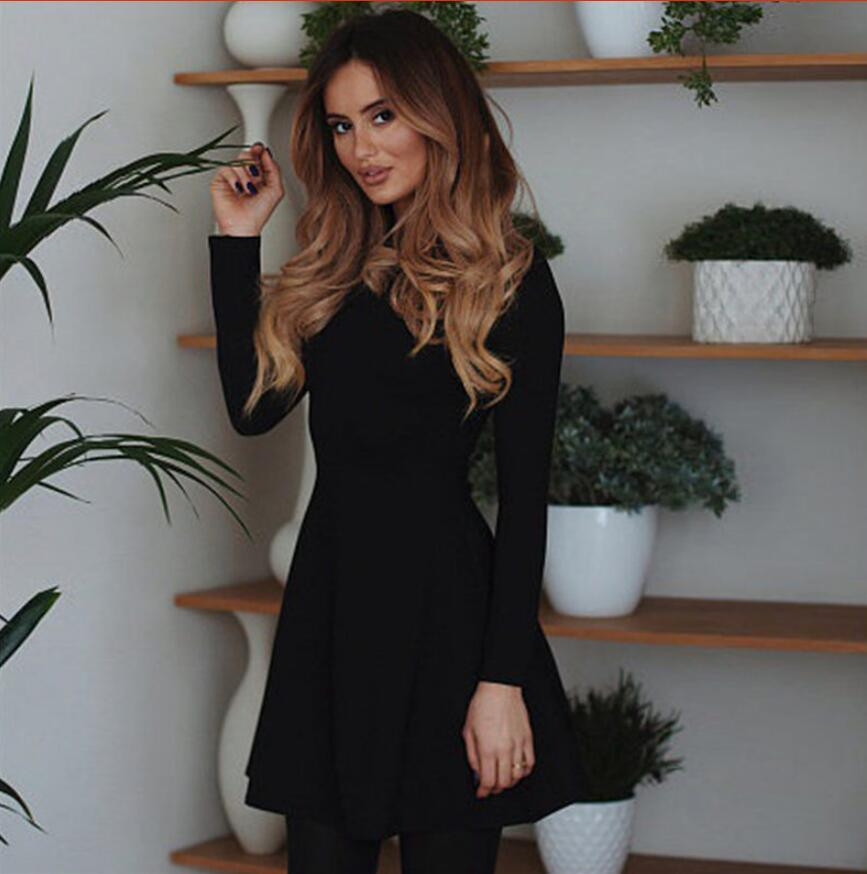 Fall Fashion 18 Women Long Sleeve Bodycon O-neck Casual Dress Winter Vintage Sexy Mini Party Dresses Autumn Clothes Vestidos 8