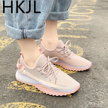 HKJL Womens sports shoes 2019 new summer reflective lace mesh breathable lightweight soft bottom wild womens Z008