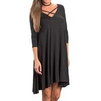 Trzy Czwarte Rękawem Autumn Dress V neck Lace up Kobiet Stałe Luźne T Shirt Dress Kobiety Midi Sukienka Z Dzianiny