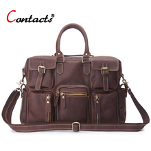 CONTACT'S Men bag Business Briefcase Genuine Leather Handbag Shoulder Bag male Vintage Crazy Horse Leather Crossbody Bags Laptop