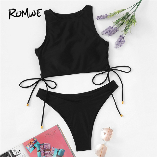 0a363f5e21 Romwe Sport Black Tie Side Top With Seam Trim Bikinis Set Women Summer Lace  Up High Neck Wire Free Beachwear Two-Pieces Suits