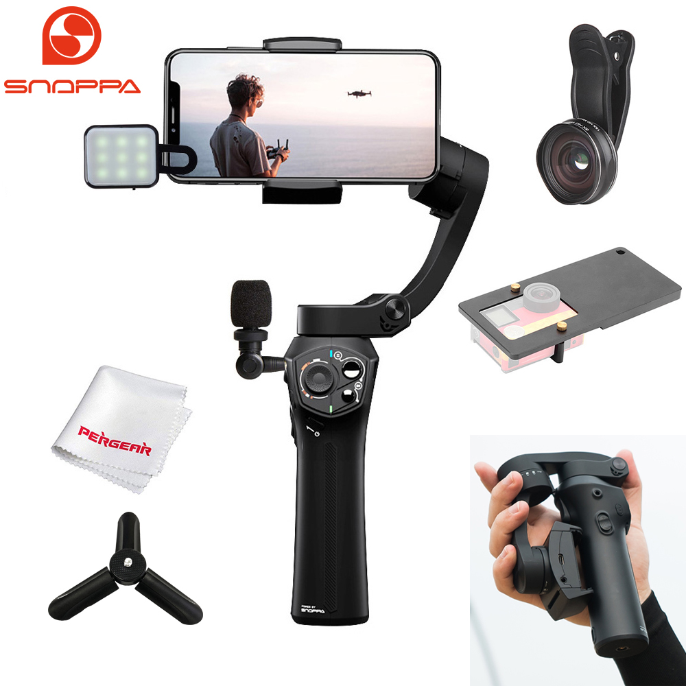 Snoppa Atom Foldable Pocket-Sized 3-Axis Handheld Gimbal Stabilizer for iPhone Samsung XiaoMi Huawei Phone & GoPro Action Camera