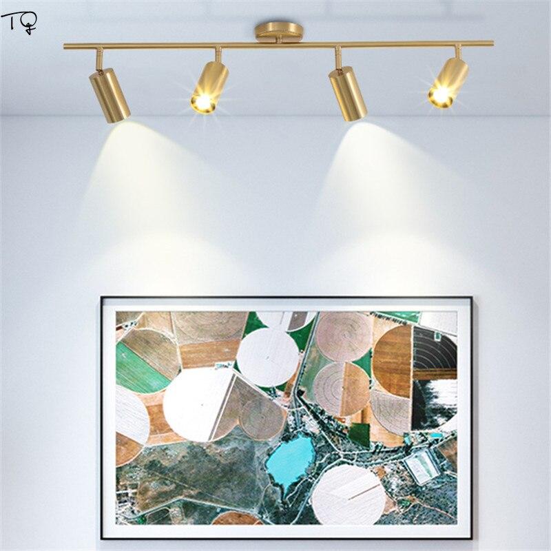 Tout-cuivre nordique or salle de bains miroir lumière pour maquillage lampes murales Spot lumières COB LED rotatif unique tête toilette chambre
