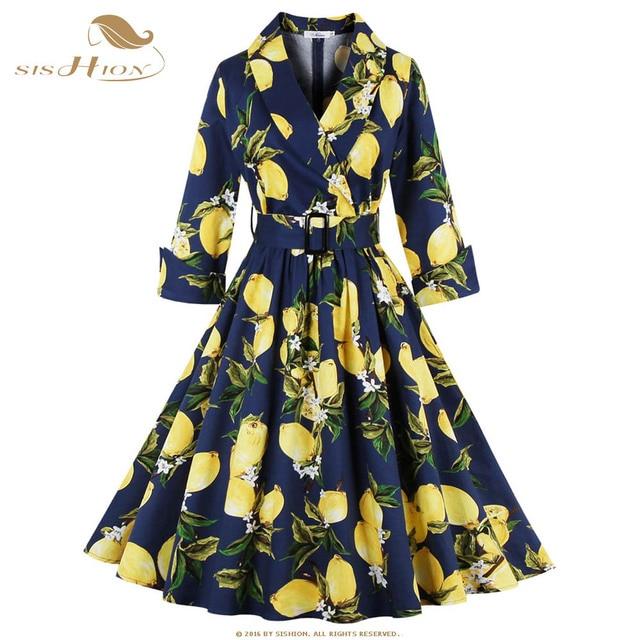 4e196eed16d SISHION Lemon Print Women Dress S-4XL Plus Size 3 4 Sleeve Retro Swing  Vintage Dress 50s 60s Party Winter Autumn Dresses VD0398