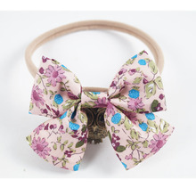 Lovely Print Striped Floral Nylon Headband With Fabric Bow Elastic Hair Band For Girl Kid Headwear