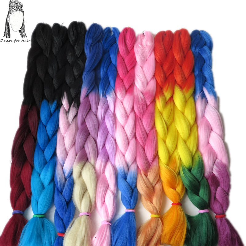 Desire For Hair 2packs Per Lot 24inch 100g Heat Resistant Synthetic 2 Tone 3 Tone 4 Tone Ombre Jumbo Braiding Box Hair Extension Hair Braids Hair Extensions & Wigs