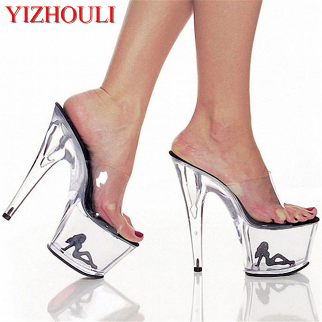 b979b524fbeb Clear Crystal 17cm Sexy High Heel Platforms Sandals 7 Inch Model Shoes Sexy  The Pretty Girl Pattern Wedding Shoes