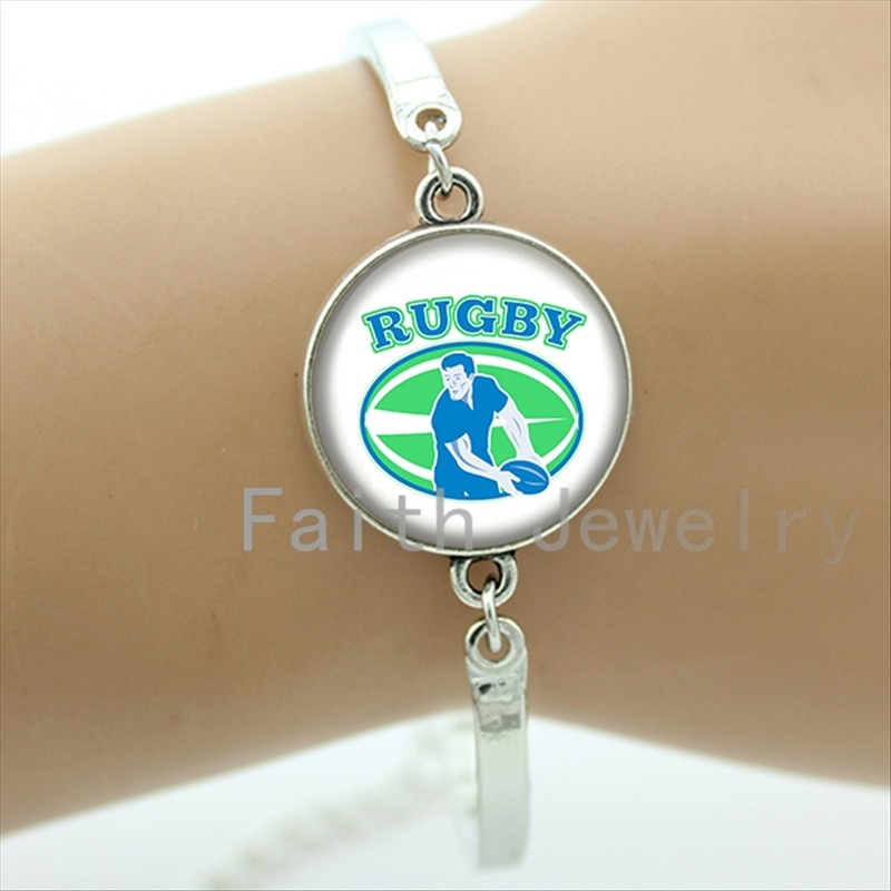 Casual sports series jewelry fresh green playing rugby art picture bracelet football sport bracelets best ball fans gifts NF038
