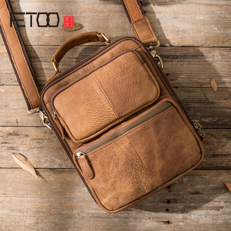 AETOO Original retro leather men's matte leather casual shoulder Messenger bag vertical section crazy horse skin men bag handbag цена