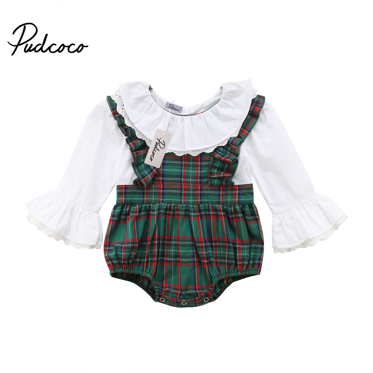 Sweet Newborn Baby Girls Kids Plaid Peter Pan Collar   Romper   Jumpsuit Flared Sleeve Patchwork Playsuit Cute Outfits Clothes