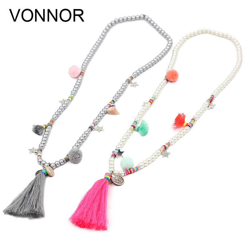 VONNOR Jewery Women Statement Necklace Bohemian Colorful Beads Simulated Pearl Shell Tassel Pendant Long Necklace for Dress stylish rhinestoned heart faux crystals beads tassel pendant necklace for women