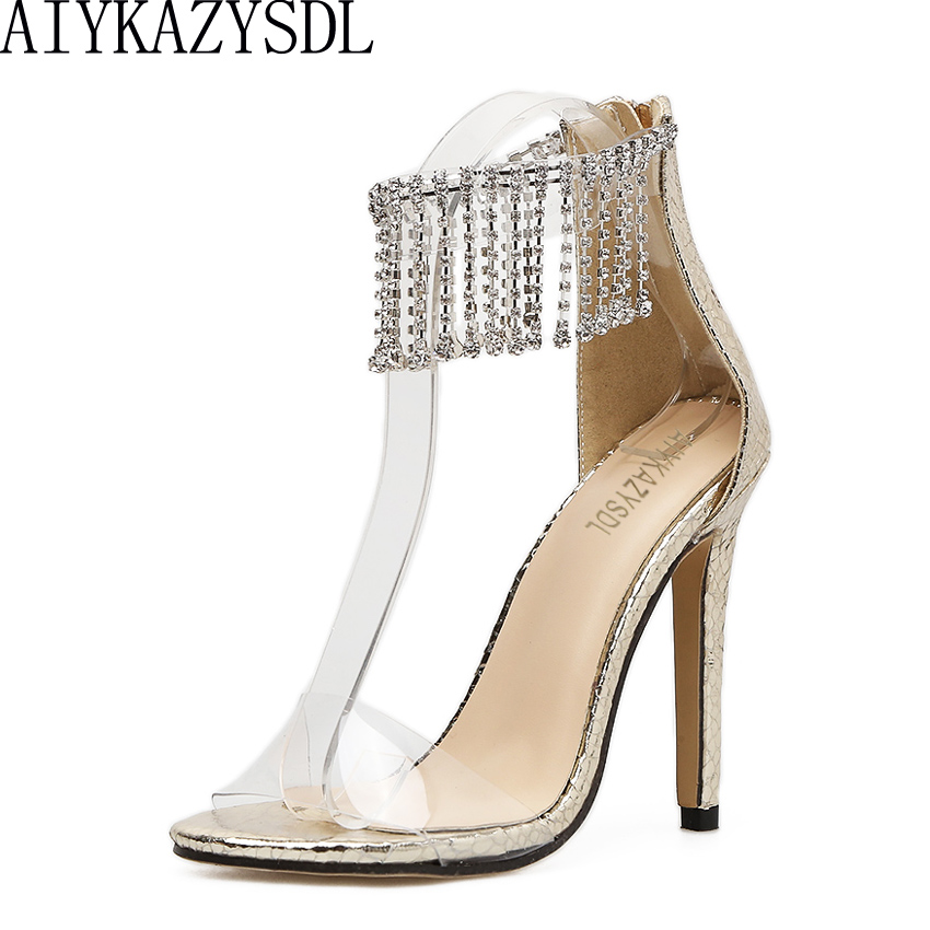 AIYKAZYSDL Women Sandals Embossing Leather Pumps Wedding Shoes Crystal Rhinestone High Heels Transparent Clear Ankle Stilettos luxury brand crystal patent leather sandals women high heels thick heel women shoes with heels wedding shoes ladies silver pumps